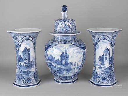 Large old Delft ceramic cabinet set with floral and