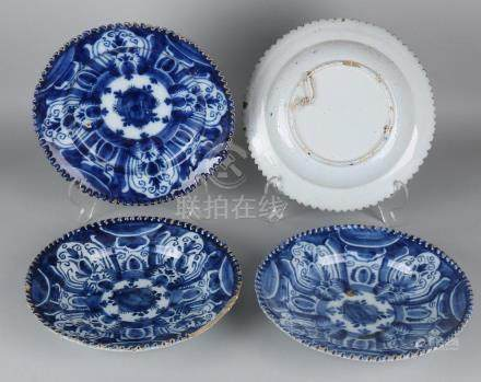 Four times 18th century Delft Fayence signs. Floral