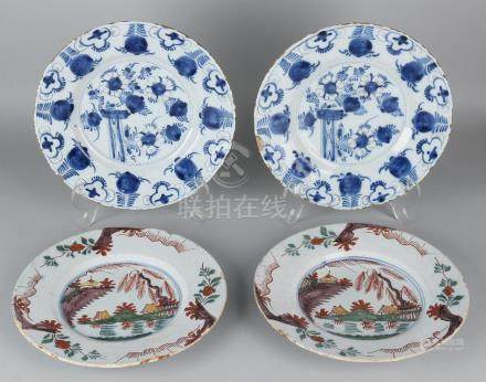Four times 18th century Delft Fayence plates with