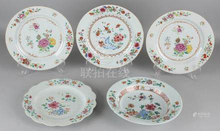 Five times 18th century Chinese porcelain Family Rose
