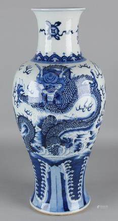 Large old Chinese porcelain dragon vase with signs +