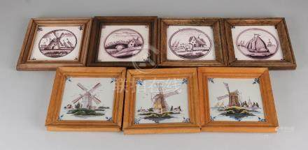 Lot of seven polychrome Delft tiles with various