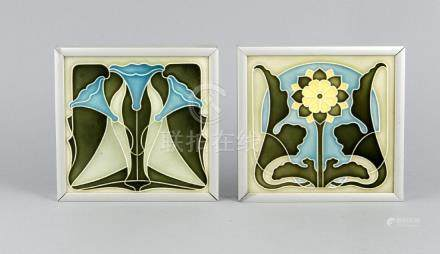 Two Jugenstil Majolica tiles with floral decors. Circa