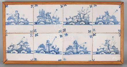 Tile panel with eight tiles. 18th century. Figures in