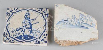 Two antique tiles. Once 17th century, with a knight.