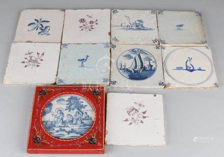Ten antique tiles. 17th Century mainly, 18th century