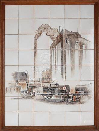 Large old 48-pass tile picture. With railways -