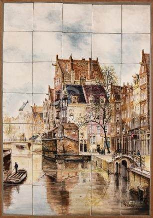 Old Dutch handpainted tile picture in table. Cityscape
