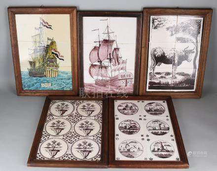 Five old Dutch 6-pass tile tableaux. 20th century.