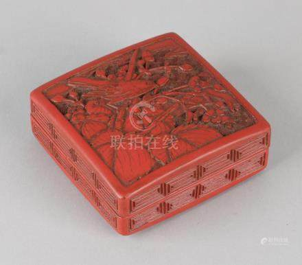 Antique Japanese or Chinese red lacquer box with bird