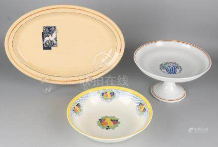 Three times antique ceramics. Consisting of: Dish,