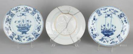 Three times 18th century Chinese porcelain plates with