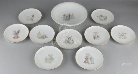 Bing and Gröhndahl porcelain pastry set. Bowl + nine