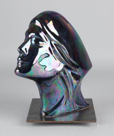 Art Deco ceramic lady's head with blue-green iridescent