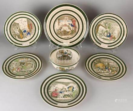 Seven parts of antique English ceramics. Among others: