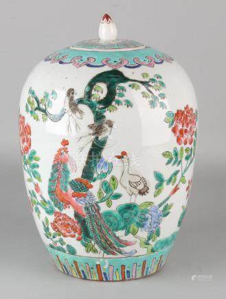 Large Chinese porcelain Family Rose covered vase with