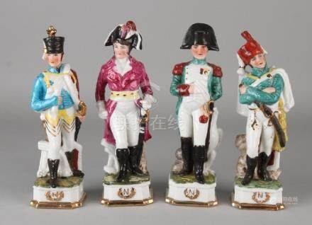 Four old porcelain soldiers. Signature Napoleon. 20th