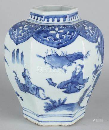 Old Chinese porcelain six-sided vase with figures,