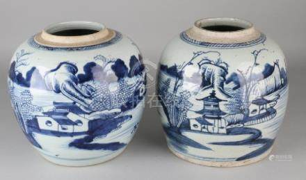 Two large antique Chinese porcelain ginger jars with