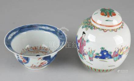 Old Chinese porcelain ginger jar and Chinese hooded
