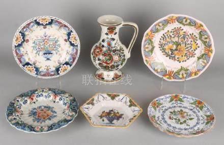 Six parts Dutch Makkum polychrome pottery. Consisting