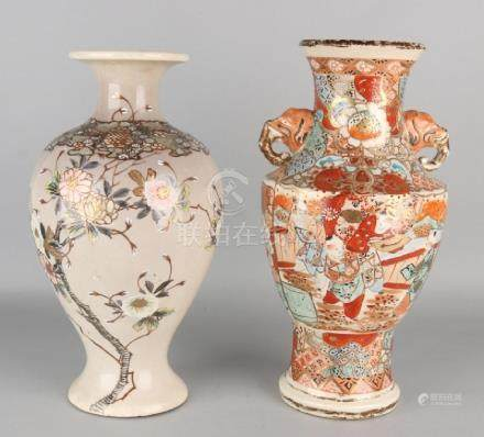 Two antique Japanese Satsuma vases. Circa 1900. One