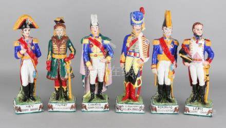 Six German Sitzendorf porcelain soldiers. 20th century.