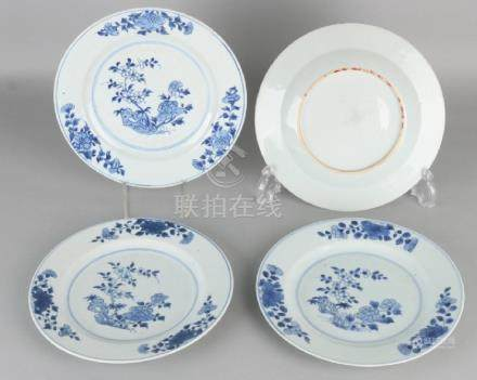 Four times 18th century Chinese porcelain plates with