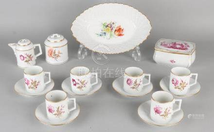 Lot of various German Hoechst porcelain. Hand painted.