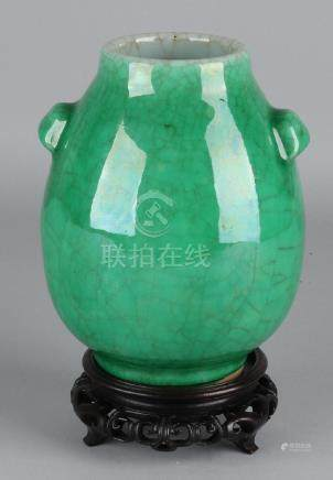 Antique Chinese porcelain green glazed vase with