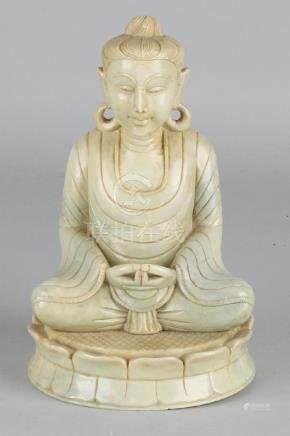 Beautiful antique Chinese natural stone buddha on lotus