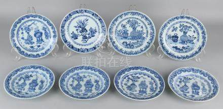 Eight times Chinese porcelain. 18th Century signs with