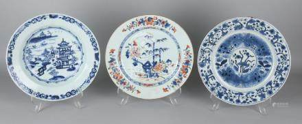 Three times 18th century Chinese porcelain plates.