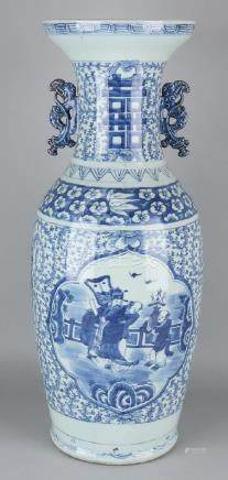 Large antique Chinese porcelain vase with heron, water