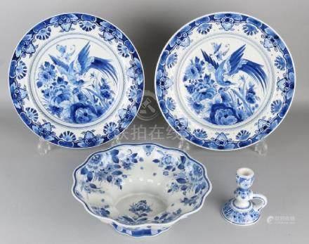 Four parts of Delft ceramics, Porceleyne Fles. 20th