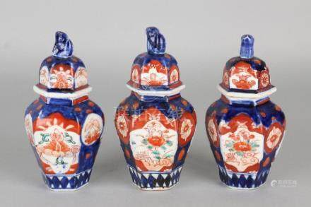 Three-part 19th century Japanese porcelain miniature