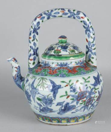 Large old Chinese porcelain Family Rose teapot with