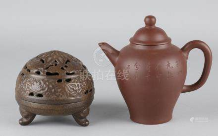 Two times old Chinese. Consisting of: Teapot with text