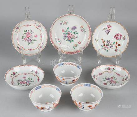 Eight times various antique Chinese tableware, floral