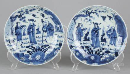 Two 18th century Chinese porcelain plates with rare