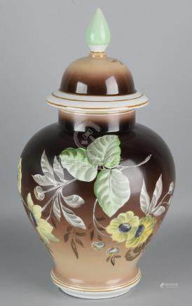 Large antique German porcelain covered vase with floral