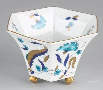 Art Deco Limoges porcelain six-sided bonbon dish.