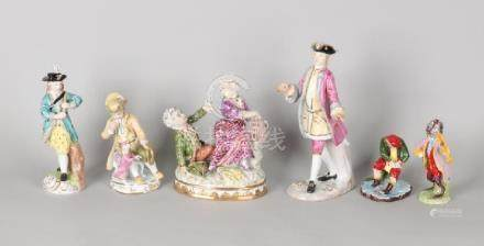 Six German porcelain figures. 20th century.