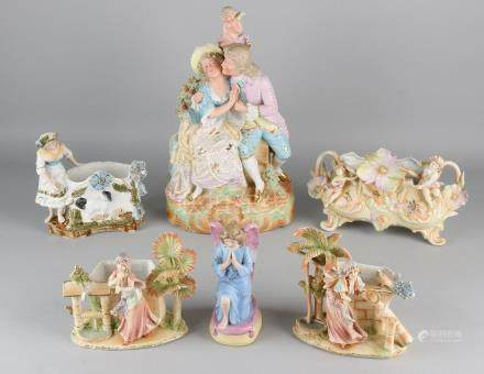 Lot of antique German bisquit porcelain. Circa 1900.