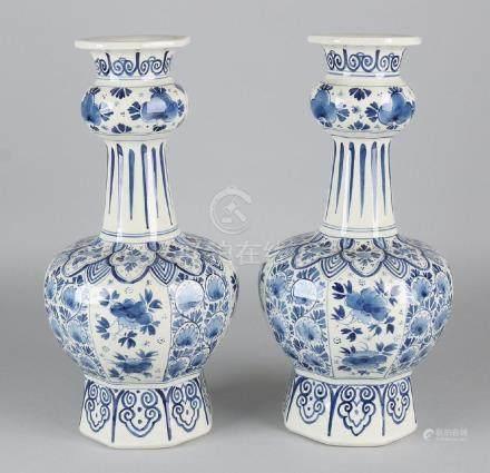 Two antique Delft Porceleyne Fles knob vases with