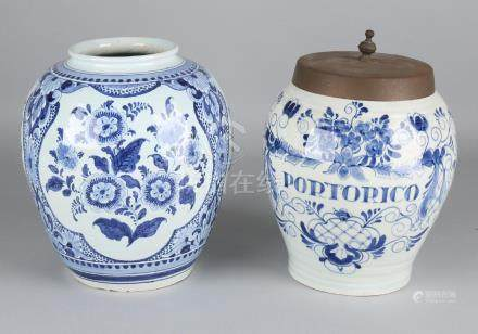 Two old / antique Delft Fayence tobacco pots with