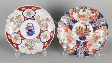 Two large 19th century Imari porcelain printed plates.