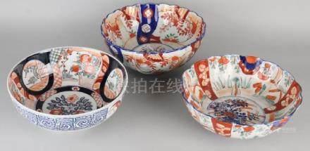 Three large 19th century Japanese Imari porcelain