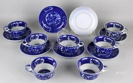 Seven antique porcelain Petrus Regout Maastricht soup