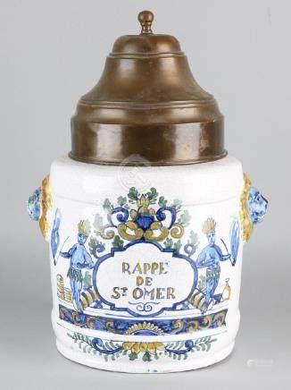 Large antique polychrome Delft Rappe tobacco spot 'De